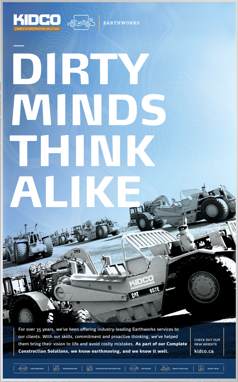 Poster design for construction company Kidco in Calgary for their earthworks service mind with headline dirty minds think alike