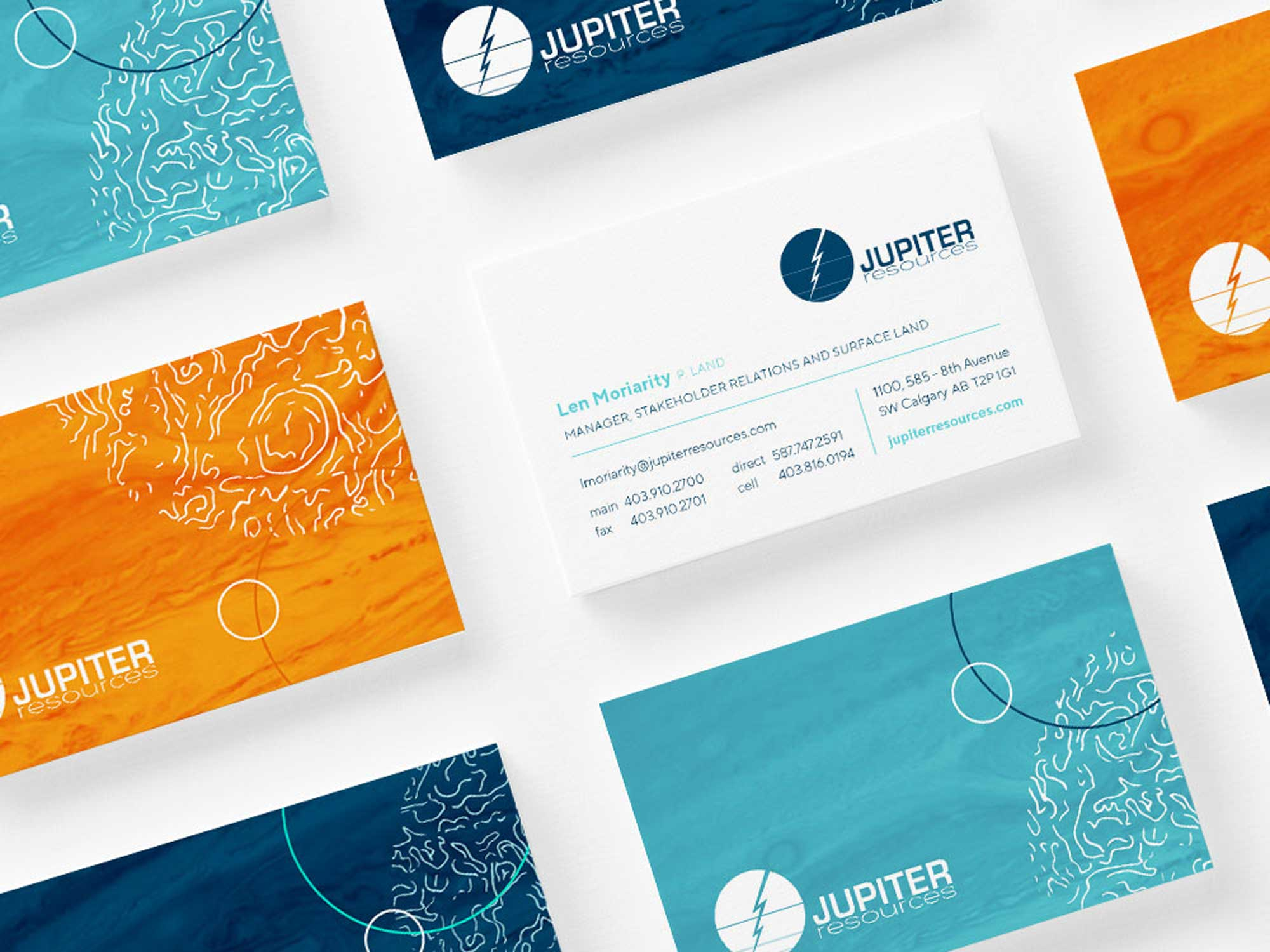 Space technology graphics on business cards for an oil and gas company in Calgary Alberta called Jupiter Resources