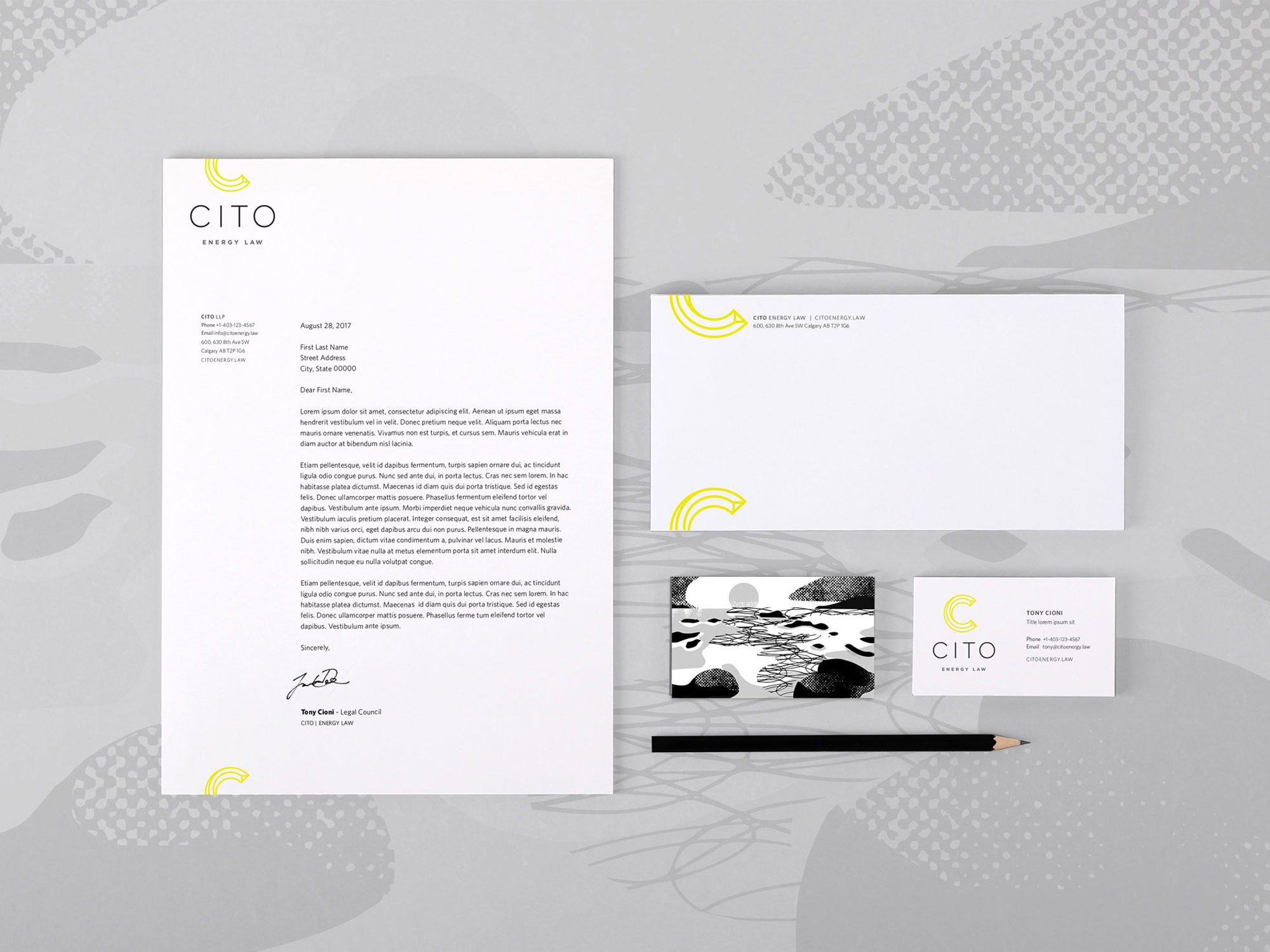 Unique Cito Energy Law corporate letterhead in Calgary featuring custom black and white illustrations from around the world