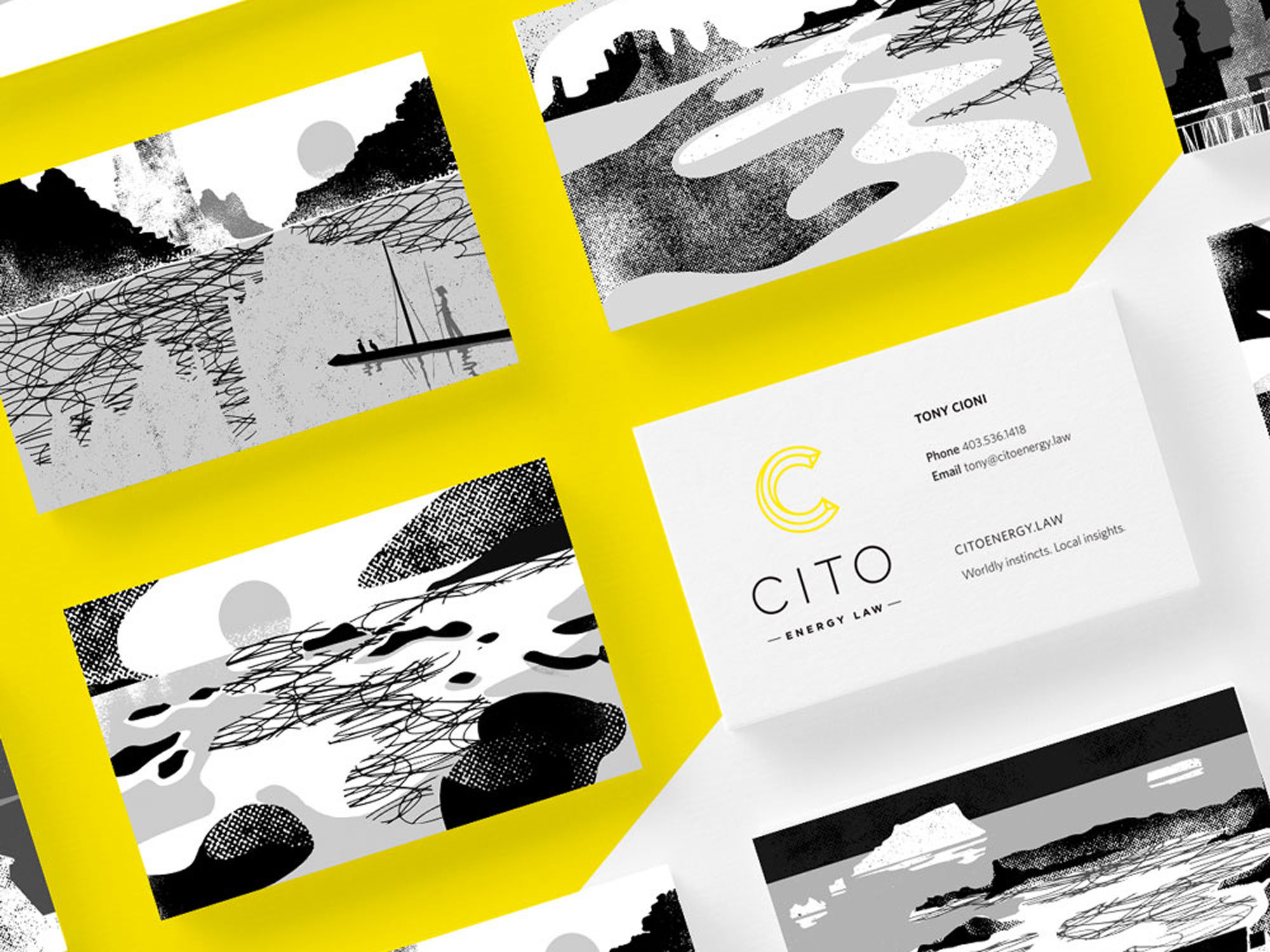 Textural black and white illustrations from around the world on corporate brand business cards for Cito Energy law in Calgary