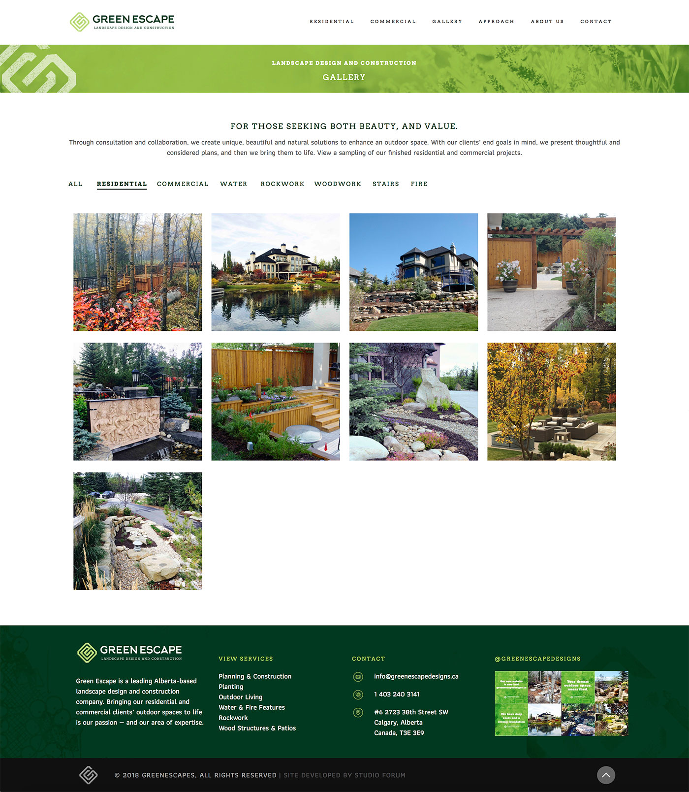 Green Escape Designs website gallery design showing residential portfolio items