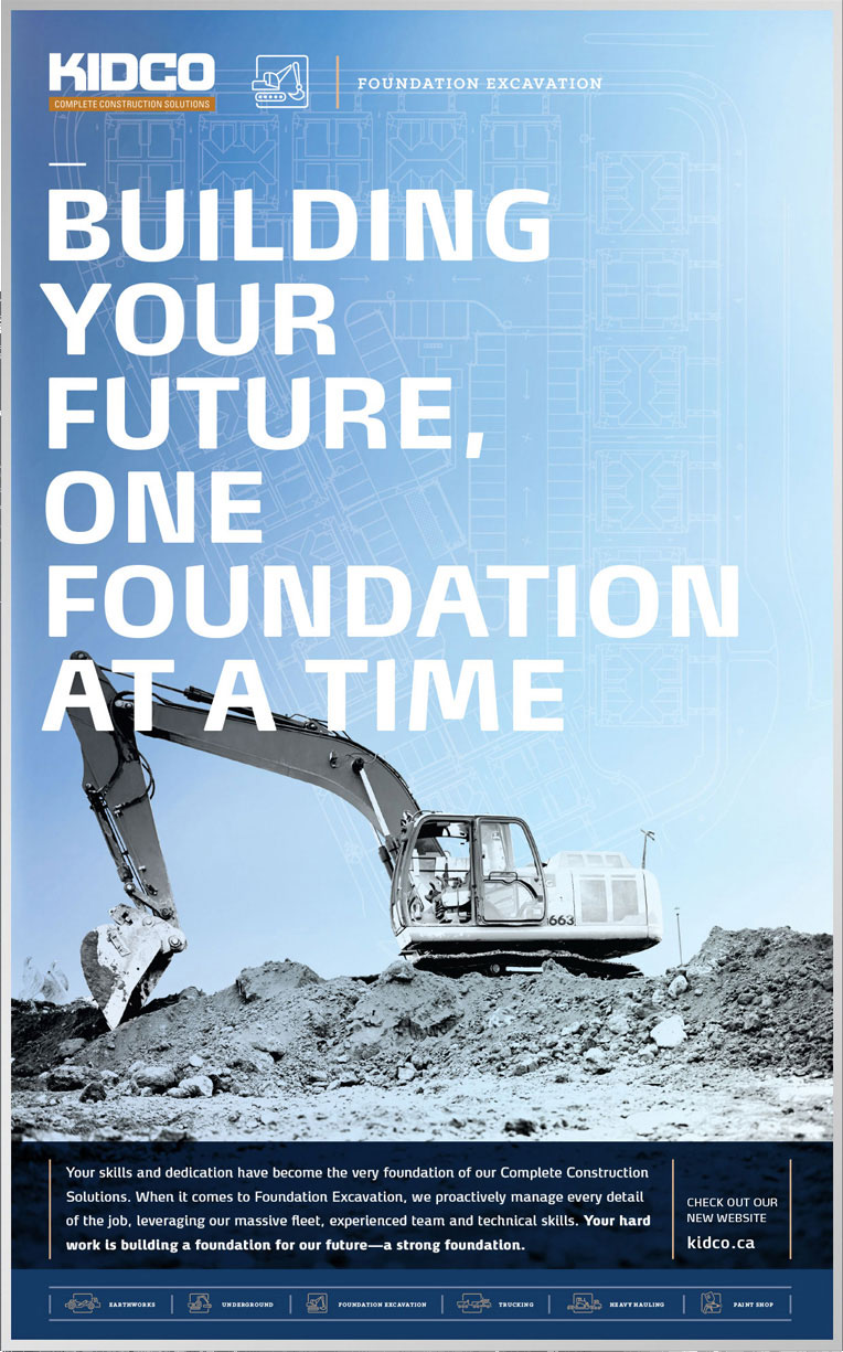 Poster design for construction company Kidco in Calgary for their Foundation Excavation service mind with headline Building your future, one foundation at a time
