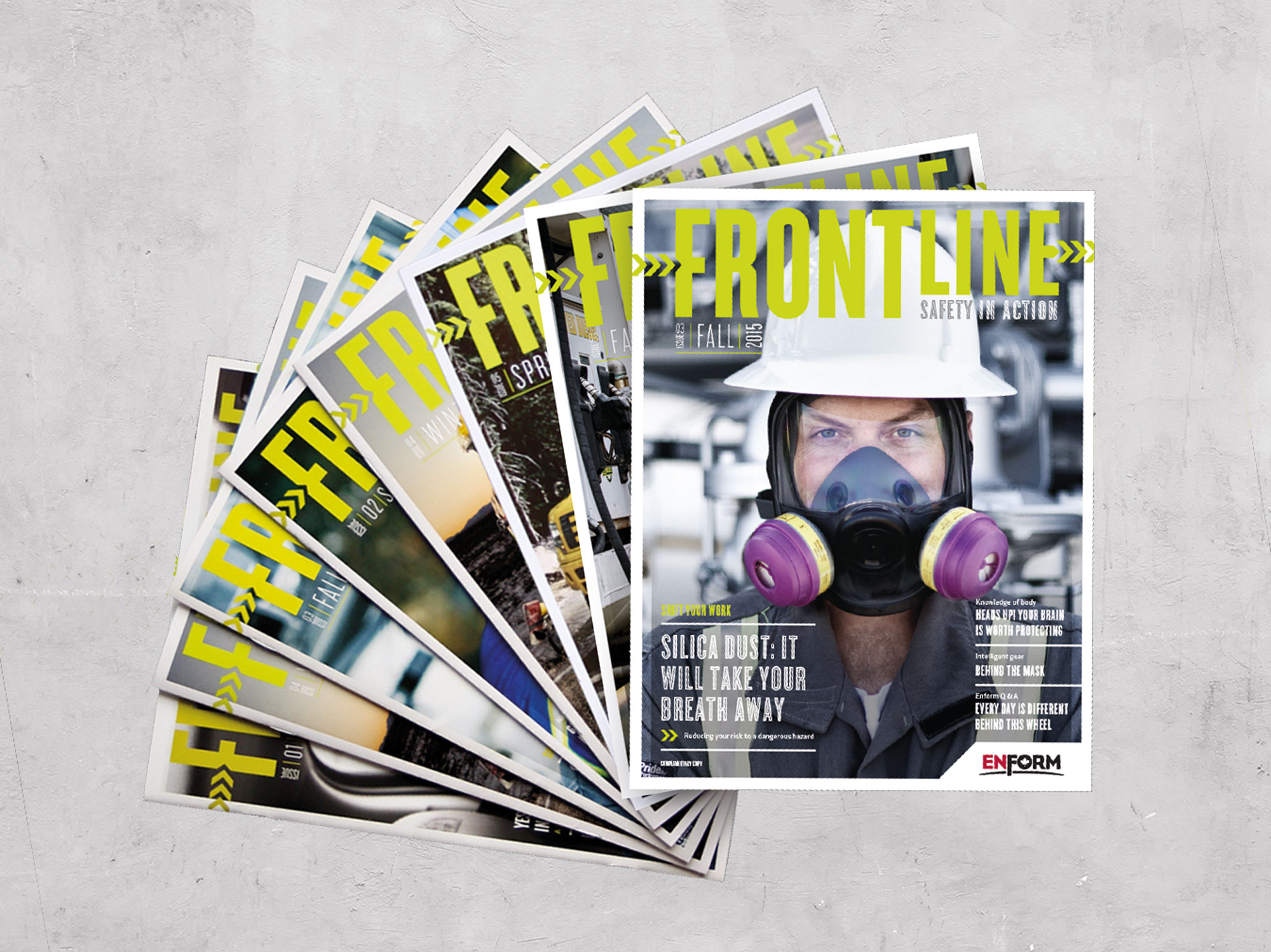 Multiple covers of Frontline Magazine on safety in action published by Energy Safety Canada formerly Enform designed by Studio Forum