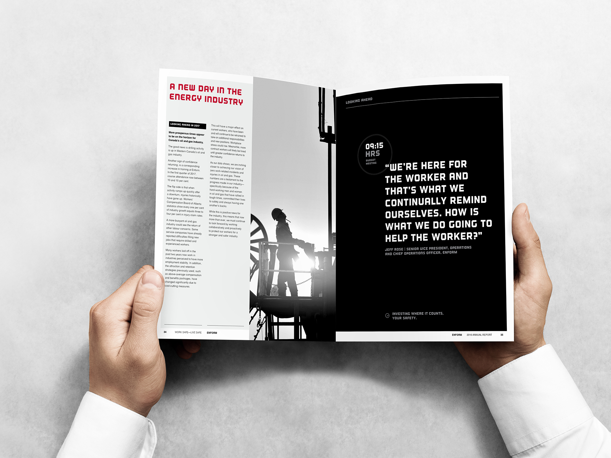 Editorial spread from the Enform Annual report on 24/7 safety designed by Studio Forum