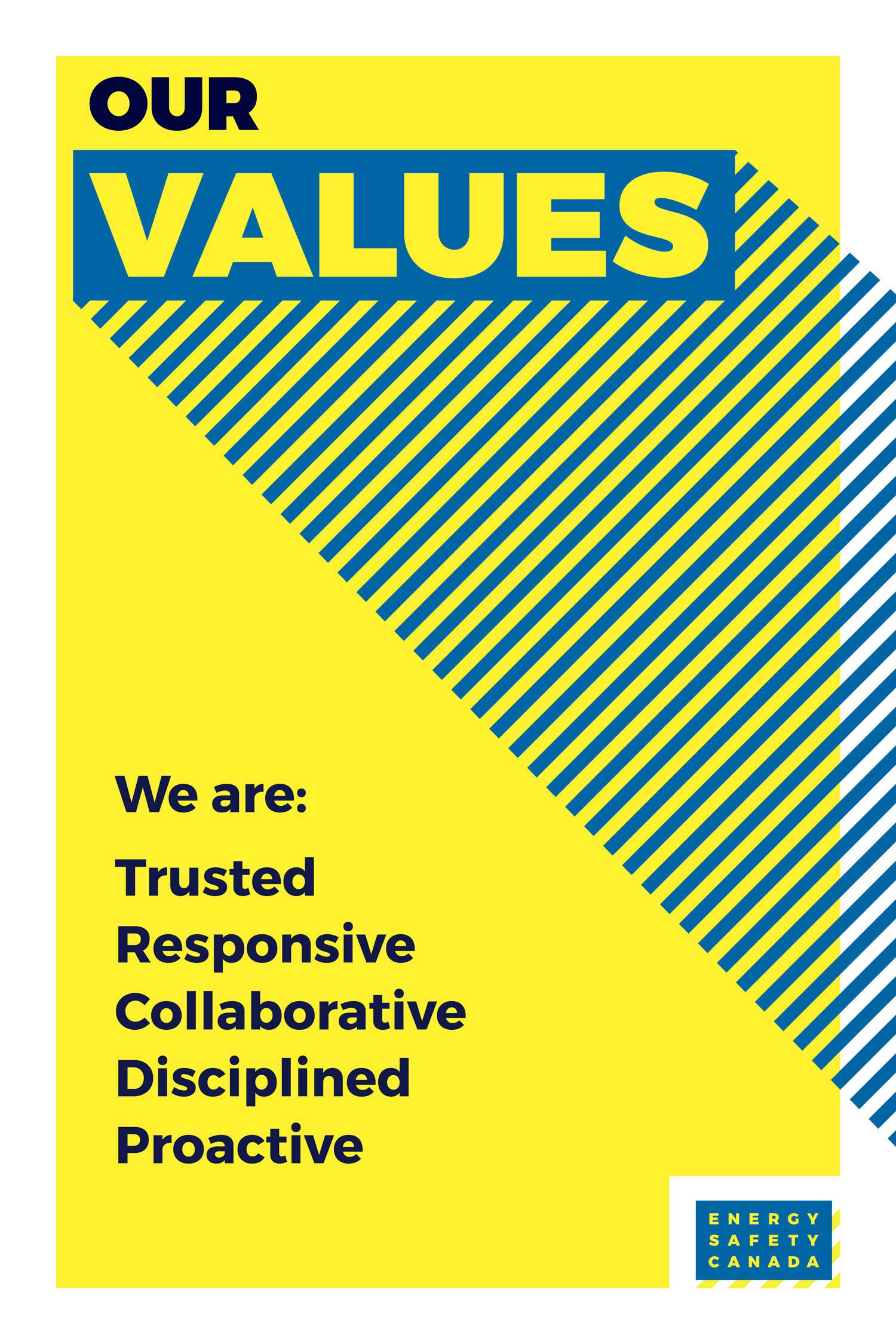Internal brand poster design for energy safety canada on the corporate company values by studio forum