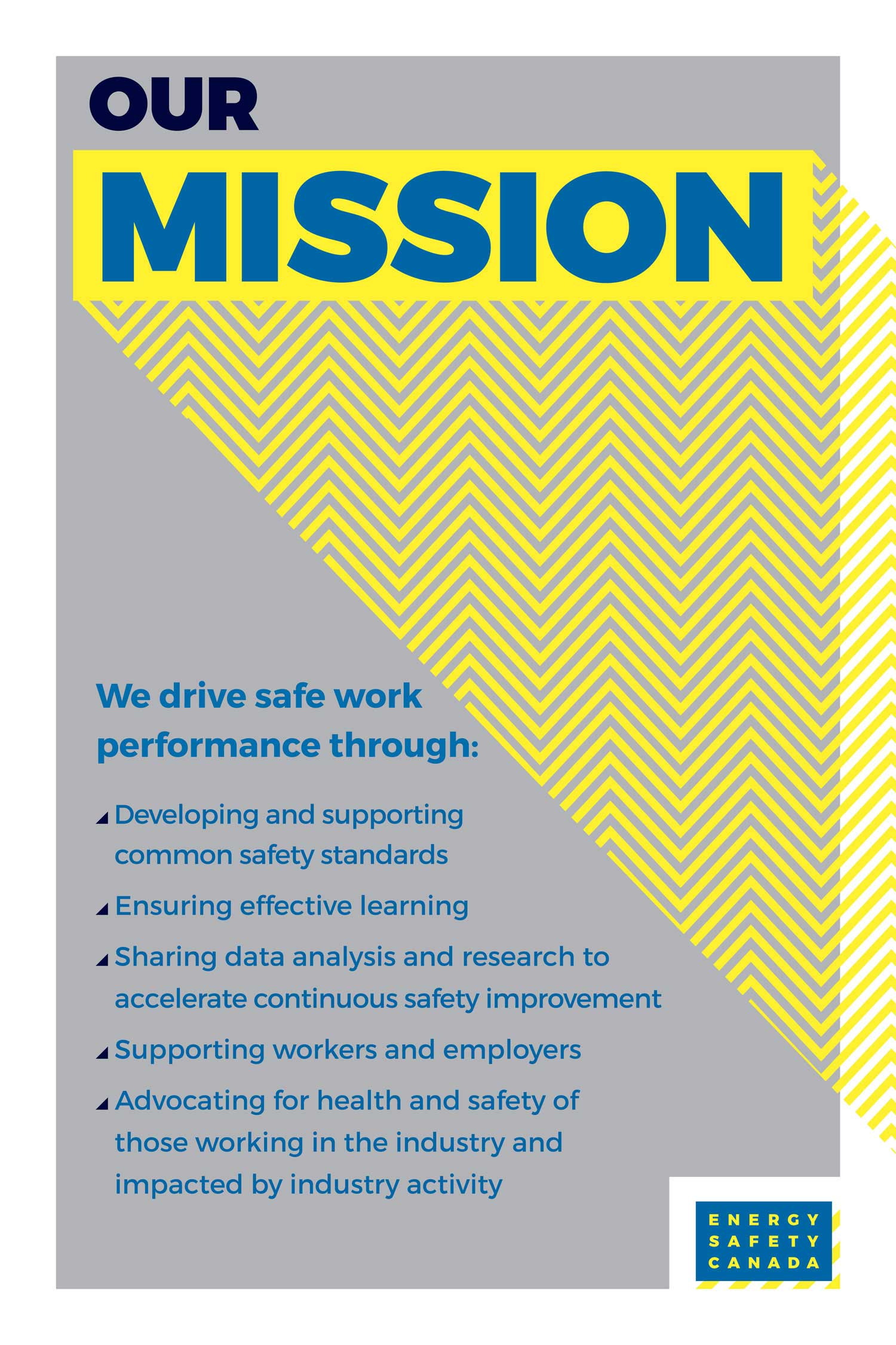 Internal brand poster graphic design expressing energy safety canada corporate mission statement by studio forum