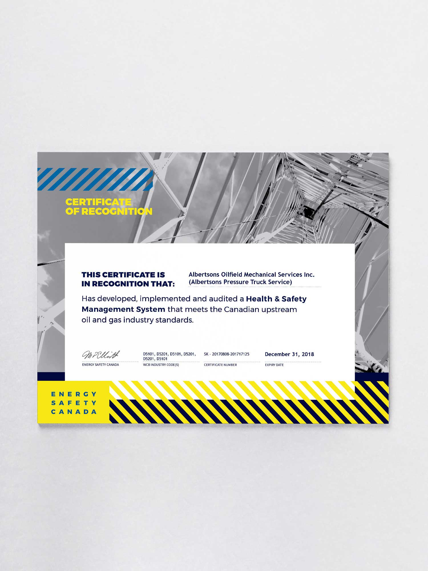 Certificate of recognition design for energy safety canada designed by studio forum