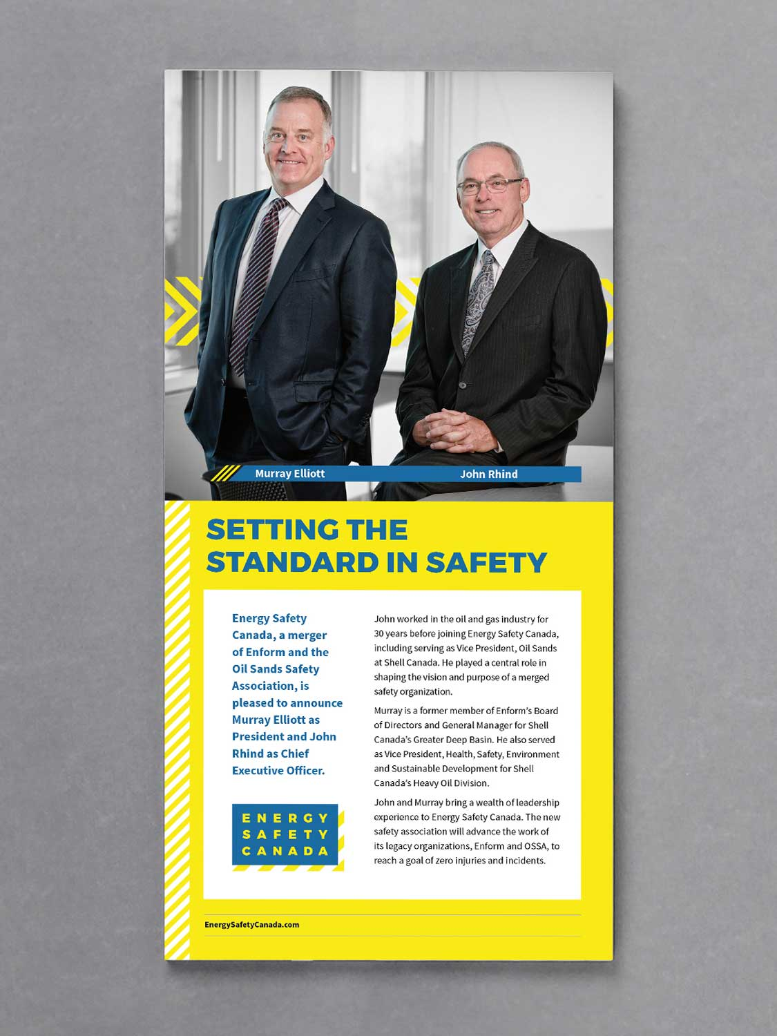 Advertisment featuring murray elliott and john rhind of energy safety canada with the headline setting the standard in safety designed by studio forum