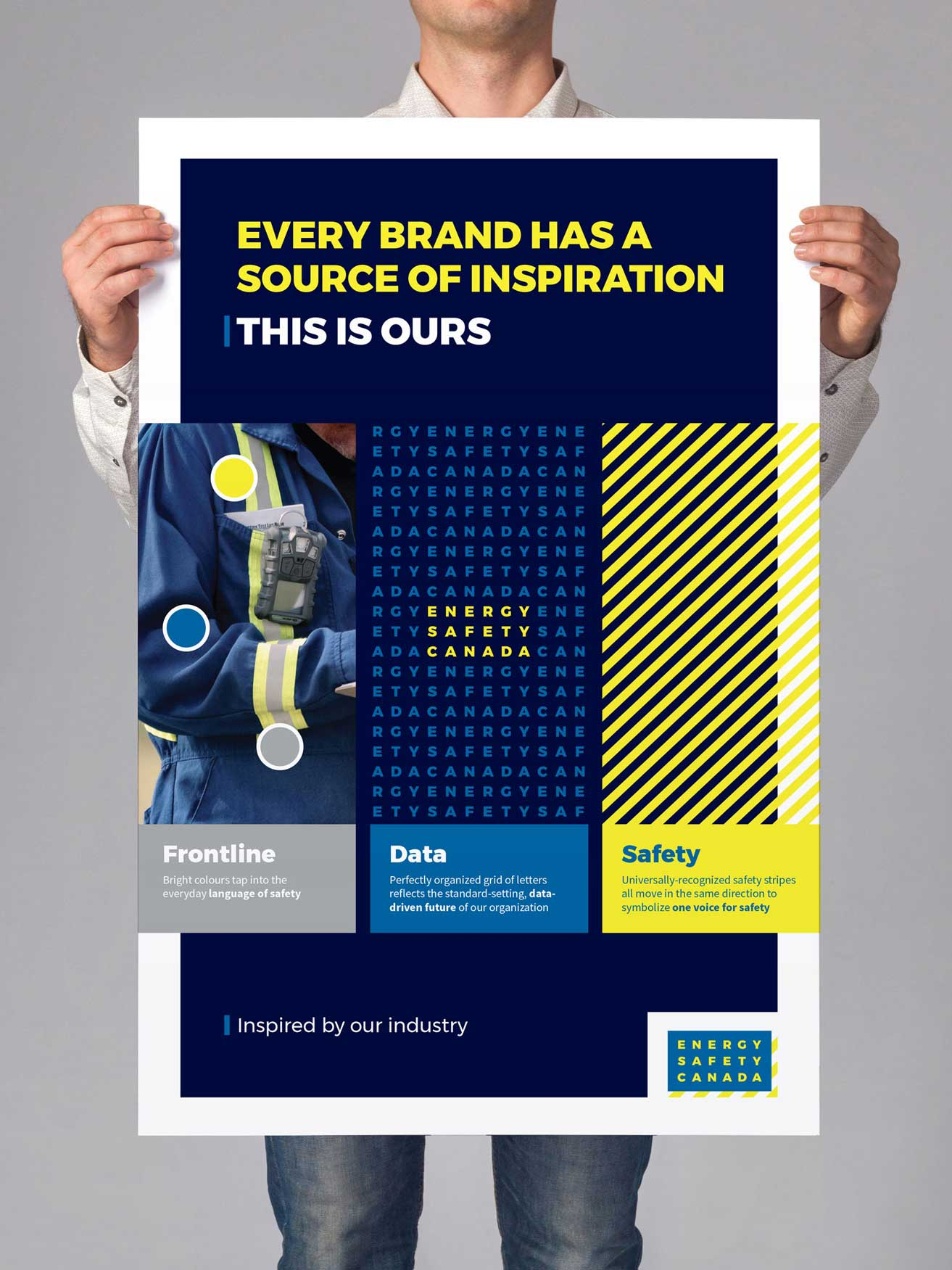 Brand Elements poster explaining key parts of the new Energy Safety Canada brand including color and pattern expressing frontline, data, and safety