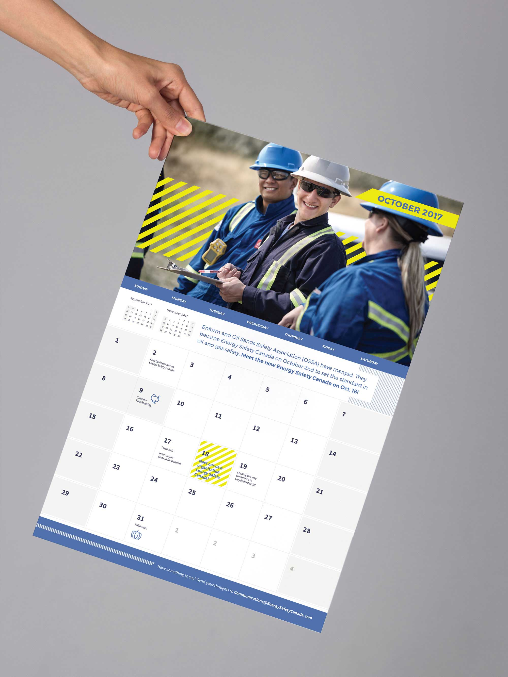 Corporate calendar for employees at Energy Safety Canada after merger with OSSA designed by Studio Forum
