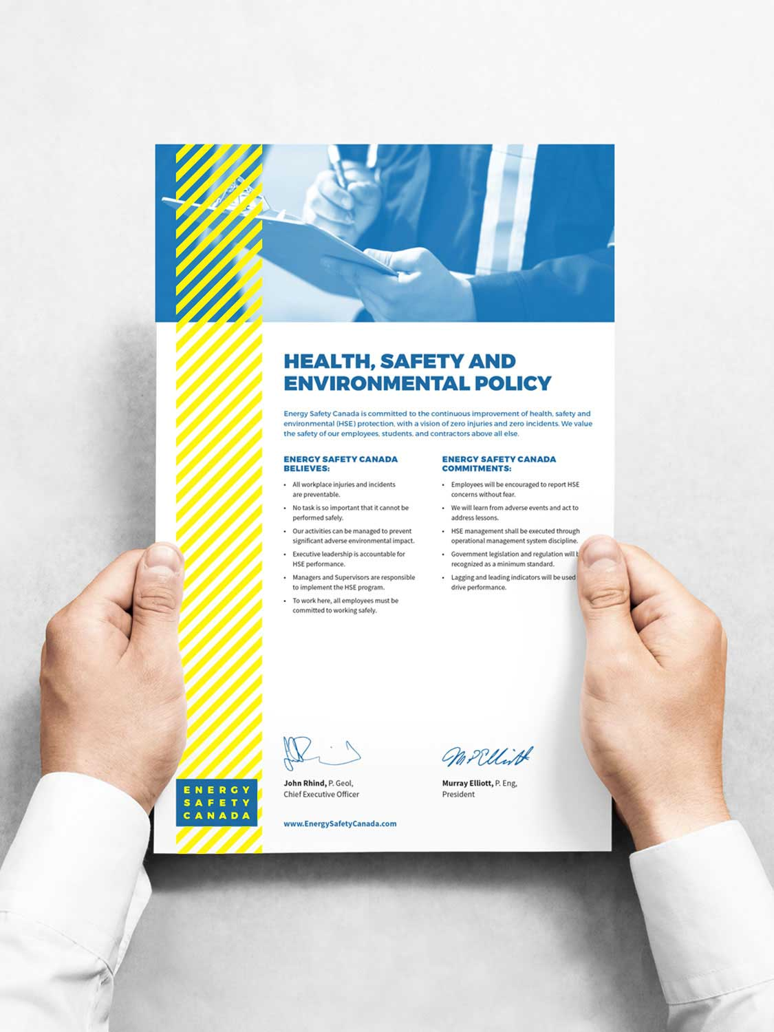 Health, Safety and Environmental Policy document design by Studio Forum for Energy Safety Canada after the merge of Enform and the Oil Sands Safety Association