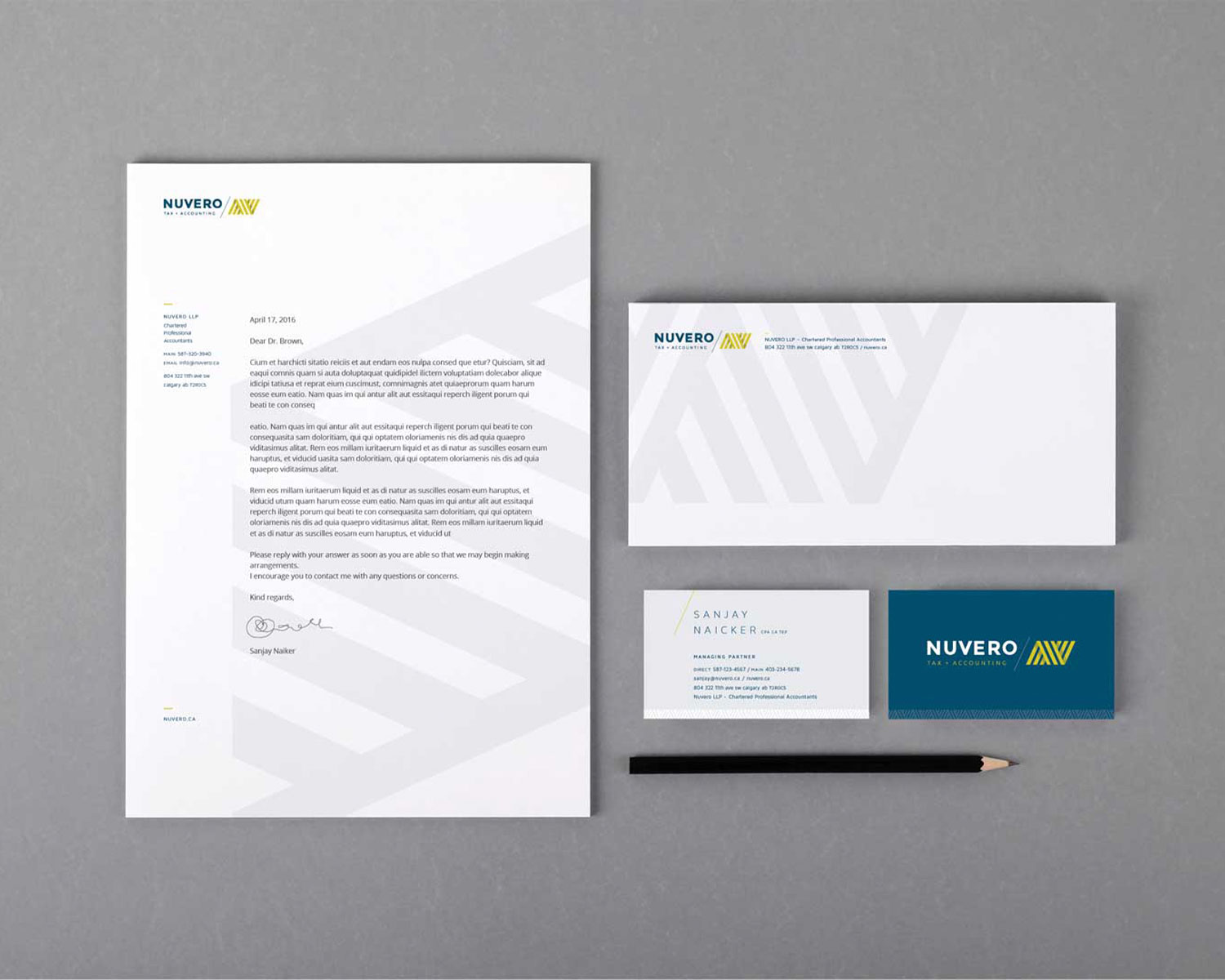 stationary design for nuvero tax and accounting in calgary of business cards and letterhead by studio forum