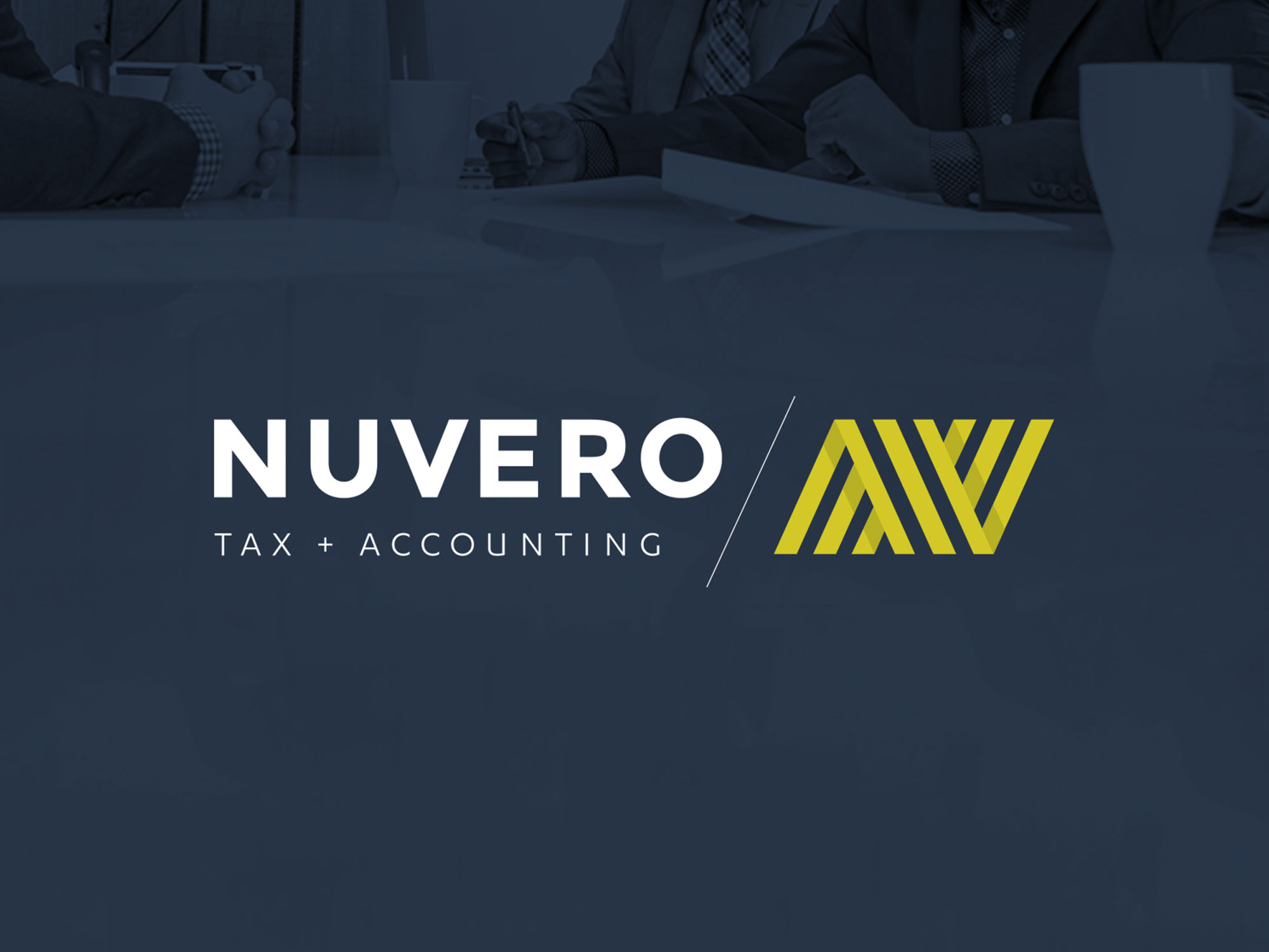 logo design in the branding of nuvero tax and accounting using chartreuse and navy by studio forum in calgary