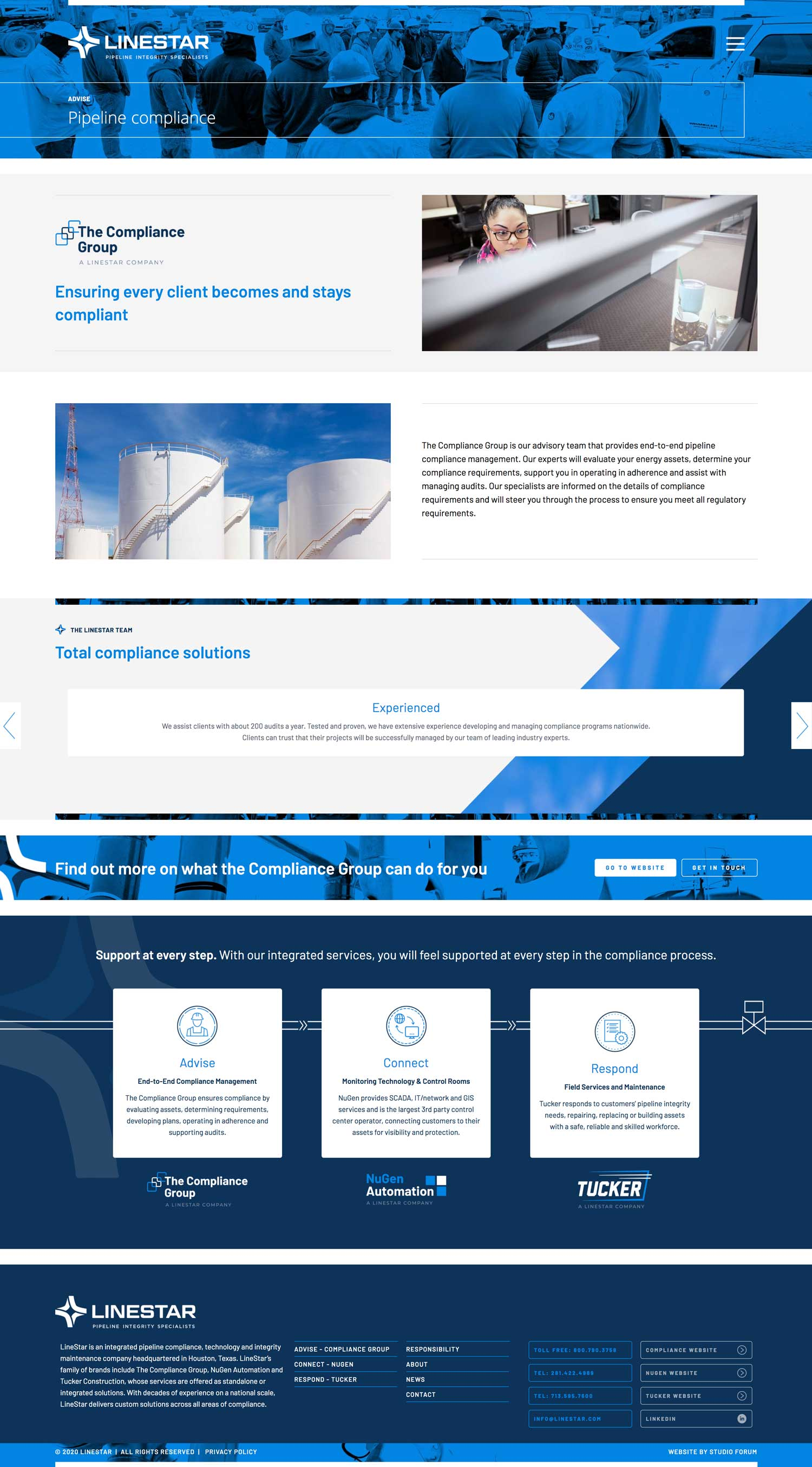 Linestar website page featuring the compliance group designed by studio forum