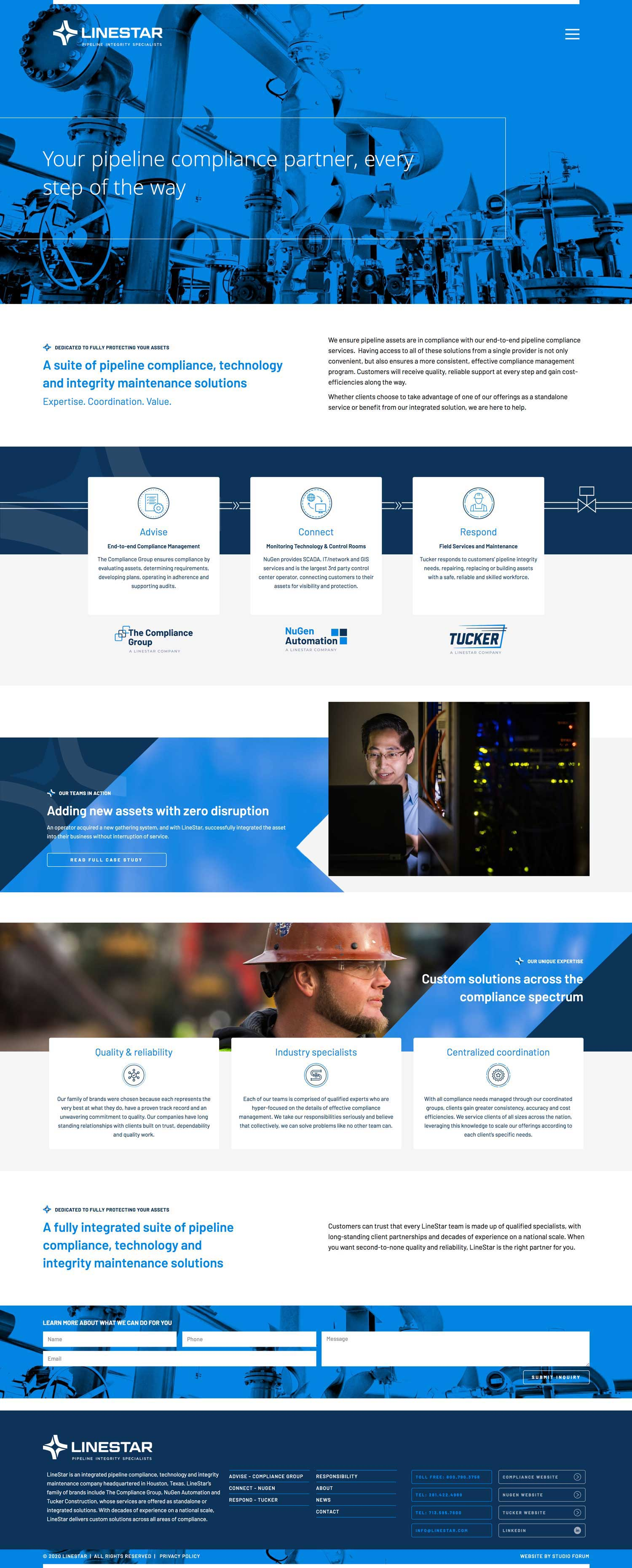 Home page design for linestar pipeline integrity specialists