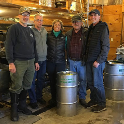 family photo in Bechard's Sugar House