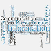 Infographic with various words: Information, Press Release, Communication, Public Relations, etc.