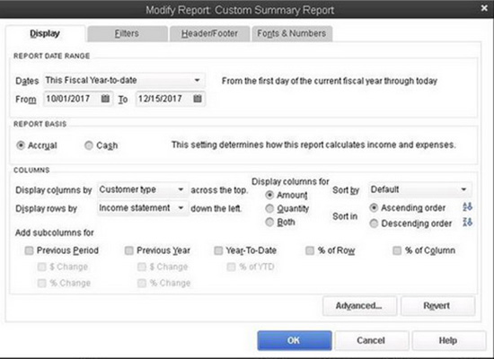QuickBooks - Modify Report Custom Summary Report