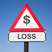 "Sign with a dollar symbol and the word ""Loss"" below it"