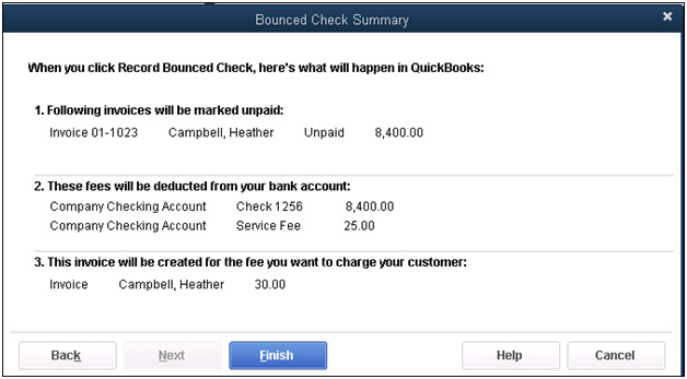 QuickBooks - Bounced Check Summary