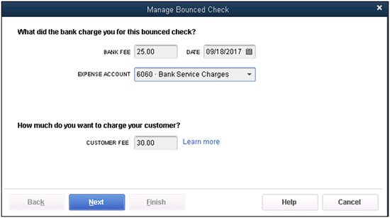 QuickBooks - Manage Bounced Check