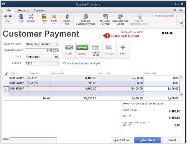 QuickBooks - Receive Payments