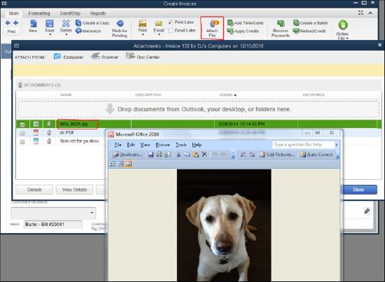 QuickBooks - Attach File screenshot