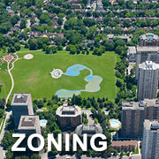 "Aerial view of a city with the text ""zoning"""