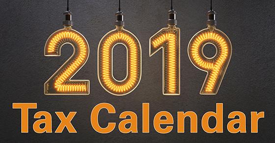 2019 Tax Calendar