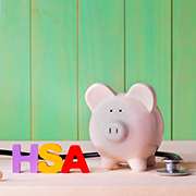 HSA, piggy bank, stethoscope
