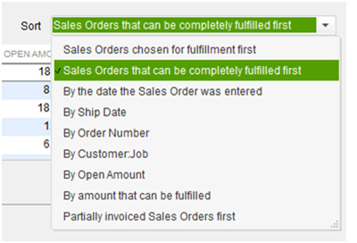 QuickBooks - Sales Orders Options