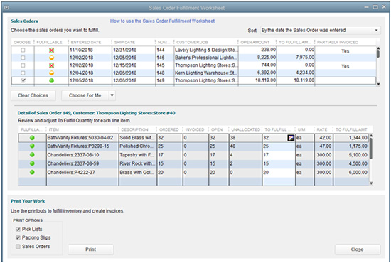 QuickBooks - Sales Order Fulfillment Worksheet