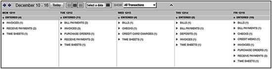 QuickBooks Calendar feature