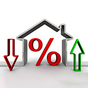 Infographic - frame of a house with a percentage sign in the middle with 2 arrows on either side of the house, one going up and one going down.