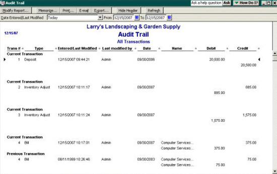 QuickBooks' Audit Trail example