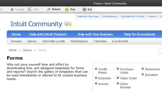Intuit Community Forms