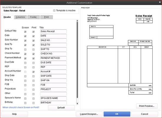 QuickBooks - Additional Customization