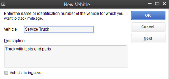 QuickBooks - Add new vehicle