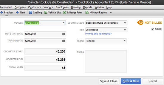 QuickBooks - vehicle mileage entry