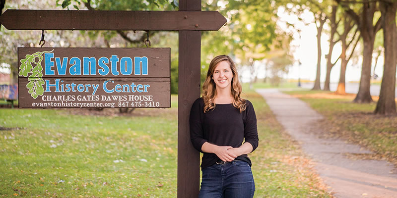 Christine Pearce at the Evanston History Center, Charles Gates Dawes House