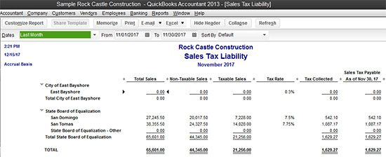 QuickBooks - Sales Tax Liability report