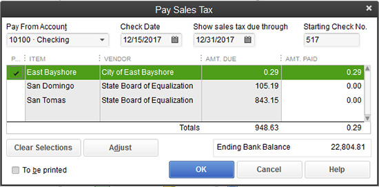 QuickBooks - Pay Sales Tax