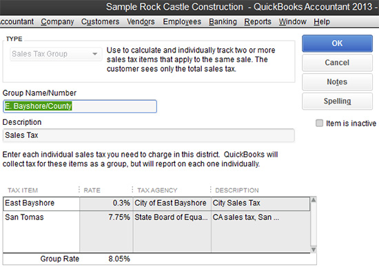QuickBooks - Sales tax rates