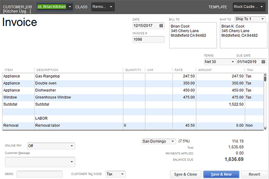 QuickBooks - Invoice sales form