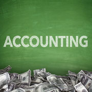 Chalkboard with the word 'Accounting'
