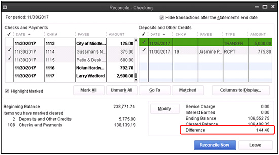 QuickBooks - Reconcile - Checking