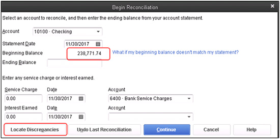 QuickBooks - Begin Reconciliatoin