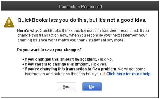 QuickBooks - Transaction Reconciliation