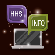 Image of laptop with text 'HHS' and 'Info'