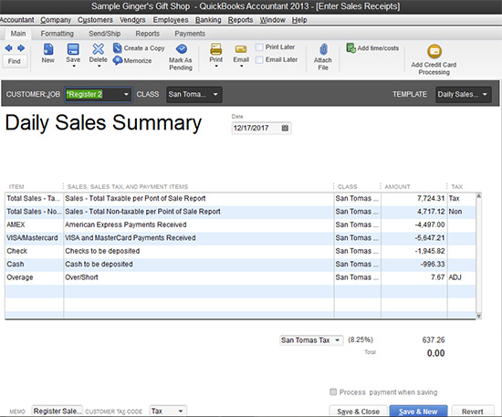 QuickBooks - Daily Sales Summary
